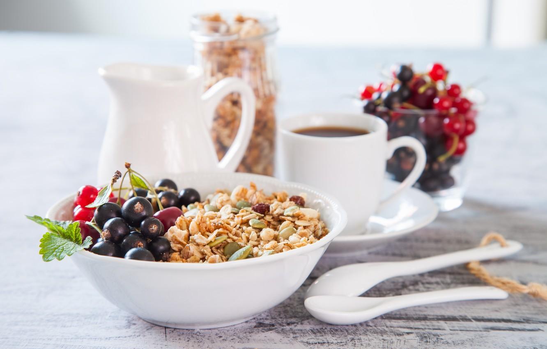 Фото обои ягоды, кофе, завтрак, смородина, breakfast, мюсли, muesli, fresh berries