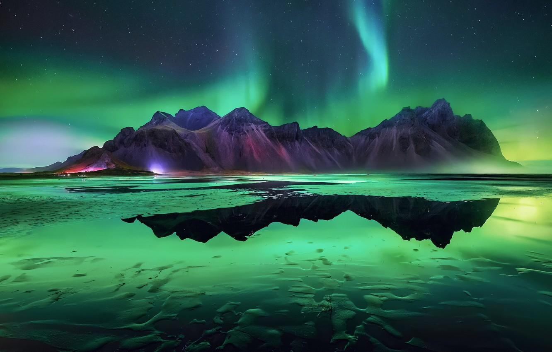 Фото обои пляж, звезды, горы, ночь, северное сияние, Исландия
