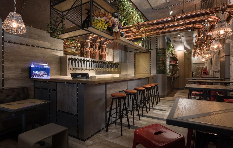 Фото обои стиль, интерьер, кафе, барная стойка