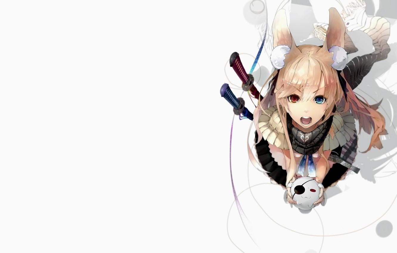 Фото обои Girl, long hair, animal ears, anime, art, twintails, katana, artwork, ribbon, swords, angry, scarf, creature, …