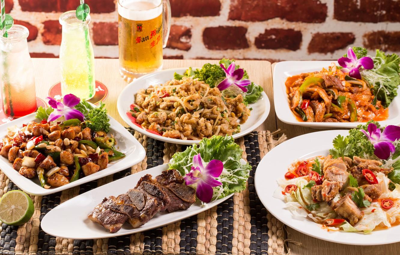 Фото обои еда, мясо, салат, морепродукты, ассорти