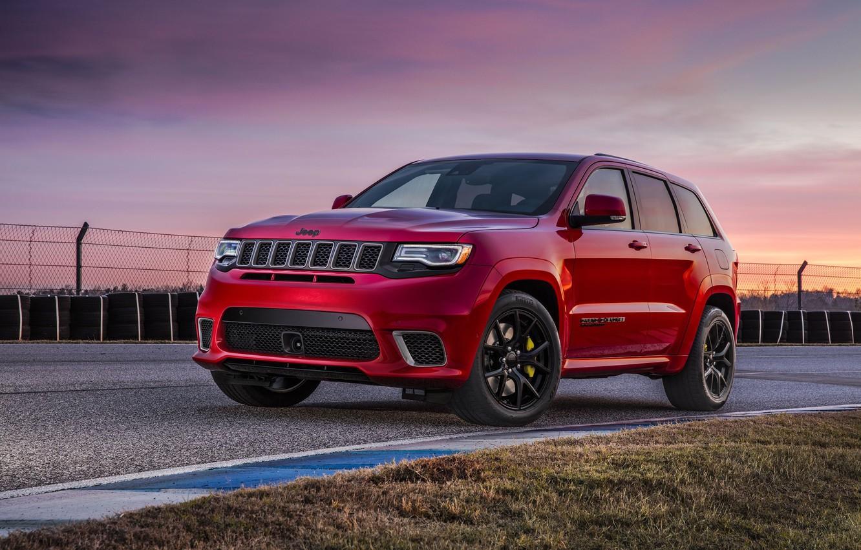 Обои car, red, asphalt, Jeep, Cherokee, tecnology, Jeep Grand Cherokee  Trackhawk, Grand Cherokee Trackhawk картинки на рабочий стол, раздел jeep -  скачать