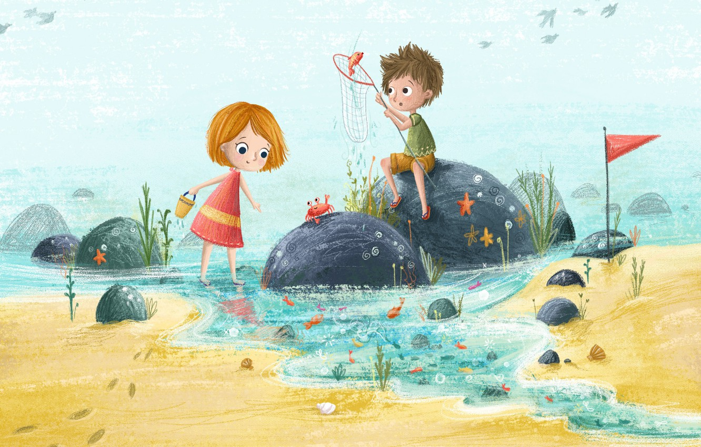 Фото обои море, лето, дети, отдых, рисунок, иллюстрация, детская, Lucy Fleming