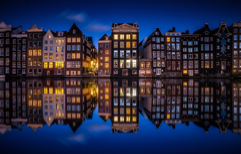 Обои канал, нидерланды, дома, ночь. Города foto 8