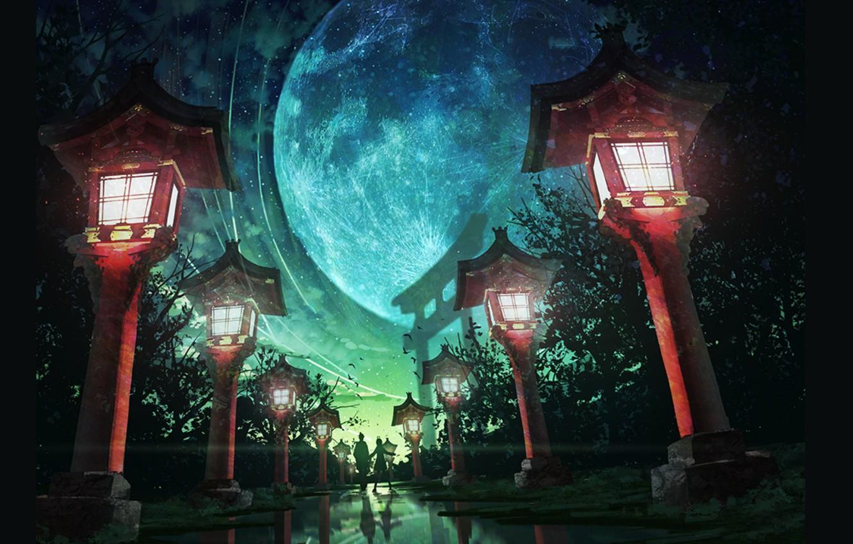 Фото обои лето, ночь, Япония, фонари, дорожка, двое, полнолуние, аллея, ворота тории, дорога в даль