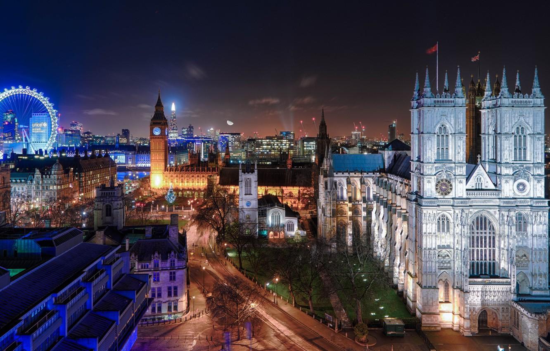 Обои ночь, london. Города foto 8