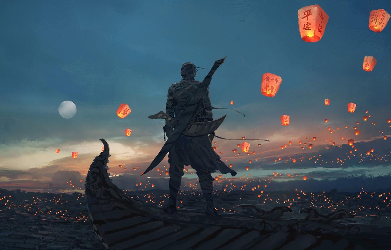Фото обои Небо, Рисунок, Луна, Меч, Moon, Sky, Арт, Мужчина, Art, Man, Sword, Artist, Chinese lanterns, Художник, …