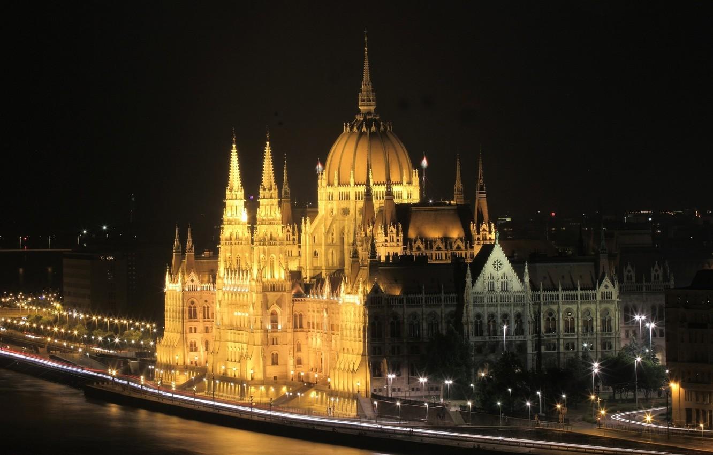 Фото обои ночь, огни, Парламент, Венгрия, Будапешт