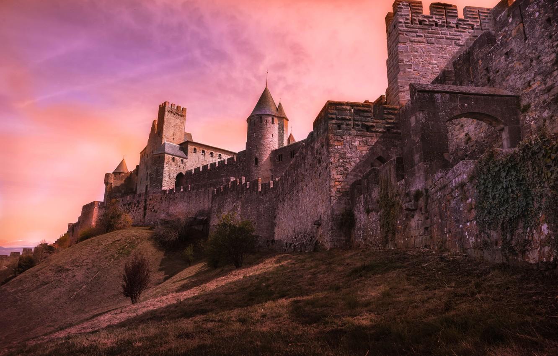 Фото обои стена, Франция, холм, башни, крепость, Carcassonne