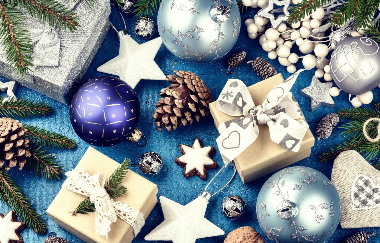 Фото обои украшения, Новый Год, Рождество, подарки, silver, happy, Christmas, wood, New Year, Merry Christmas, Xmas, gift, …