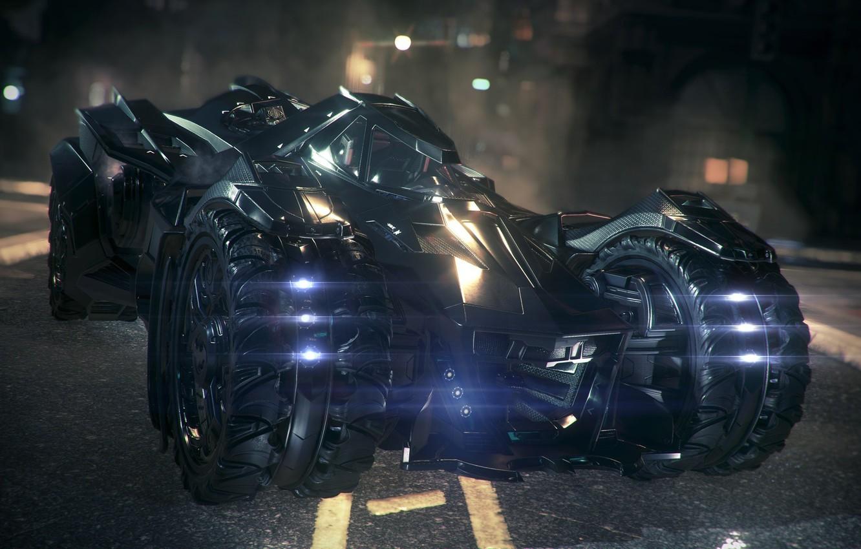 Фото обои Игра, Машина, Фары, Car, Batmobile, Game, DC Comics, Бэтмобиль, Headlights, Комиксы, Rocksteady Studios, Бэтмен: Рыцарь …