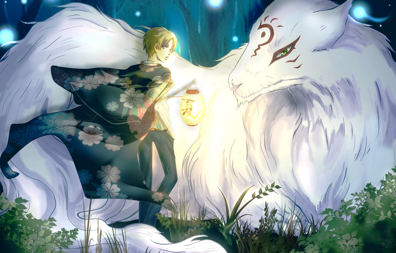 Фото обои лес, деревья, природа, аниме, арт, фонарь, парень, madara, natsume takashi, Natsume Yuujinchou, тетрадь дружбы Нацумэ, …