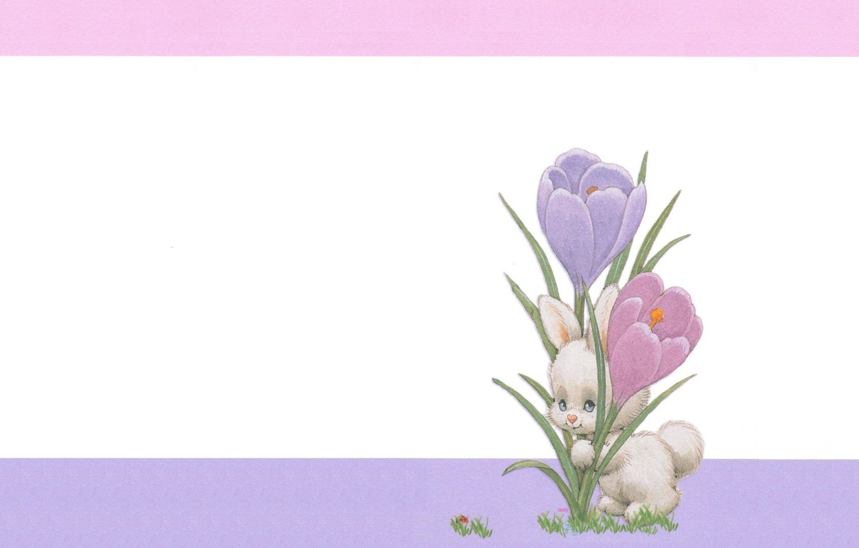 Фото обои минимализм, весна, арт, пасха, зайчик, крокус, детская
