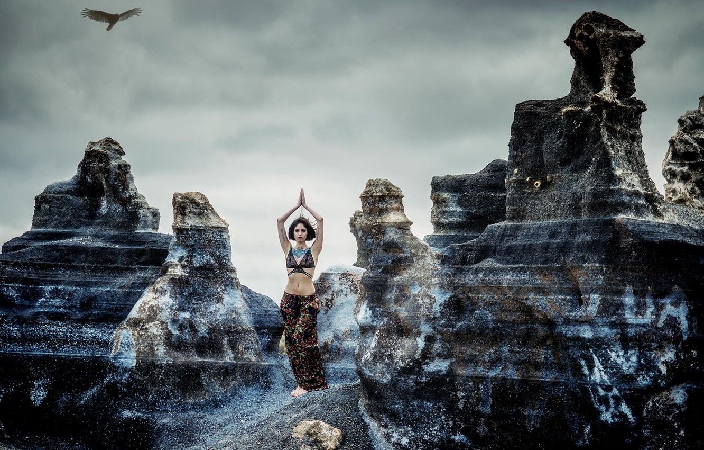 Фото обои девушка, скалы, птица, йога