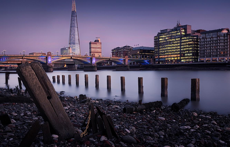 Фото обои мост, река, Англия, Лондон, башня, дома, Темза, набережная