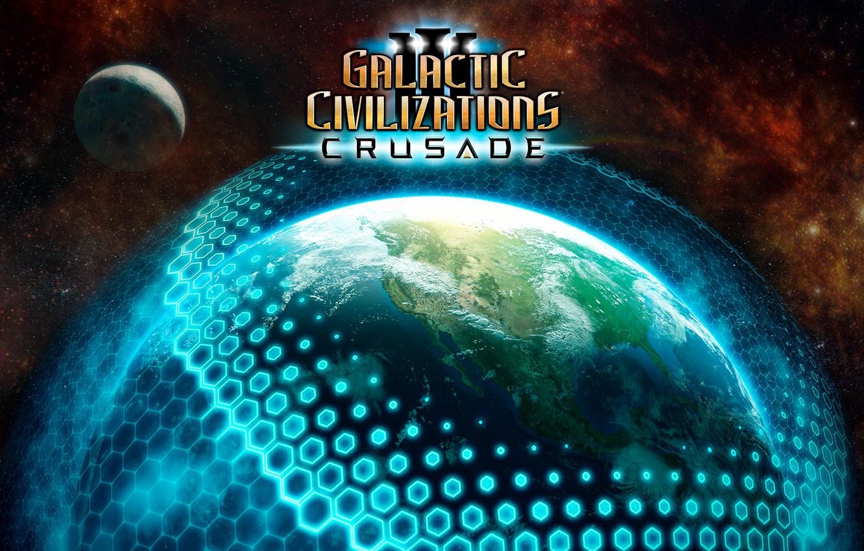 Фото обои космос, планета, звёзды, Crusade, Galactic Civilizations III