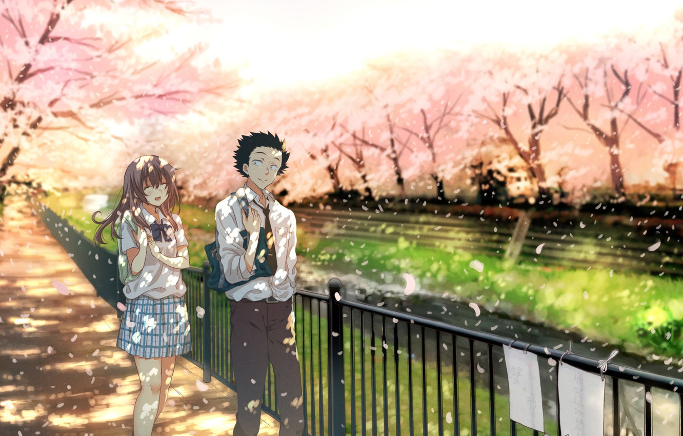 Фото обои Nature, Movie, Manga, Couple, Koe no katachi, A silent voice, Shouya Ishida, Shoko Nishimiya