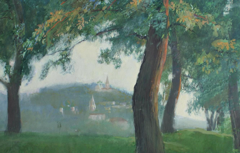 Фото обои трава, деревья, Айбек Бегалин, 1986г, Вечер в Гороховце, бум. темпера