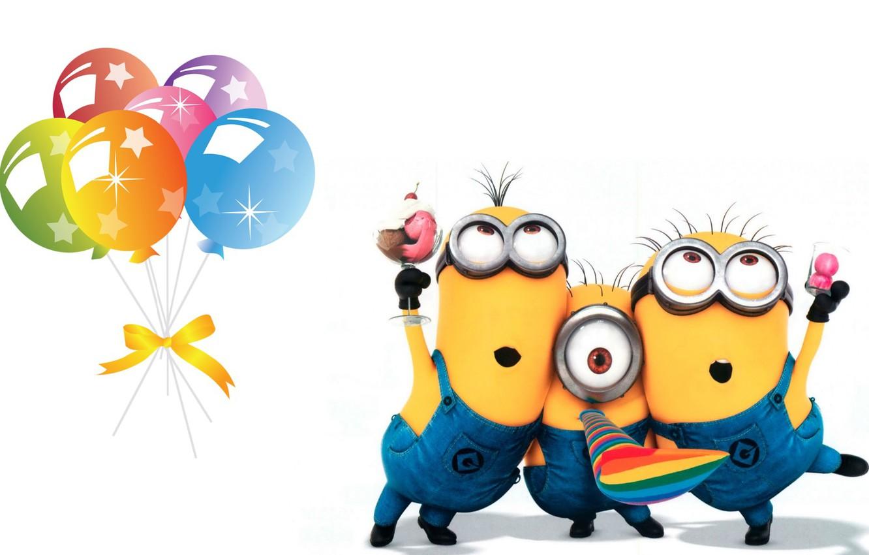 Фото обои день рождения, праздник, арт, детская, миньон, Minion, днюха