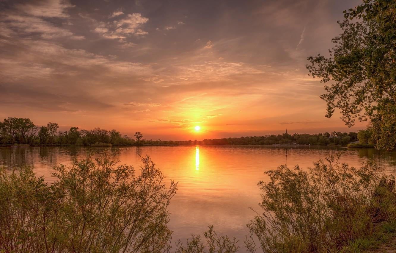 Фото обои пейзаж, закат, природа, красота