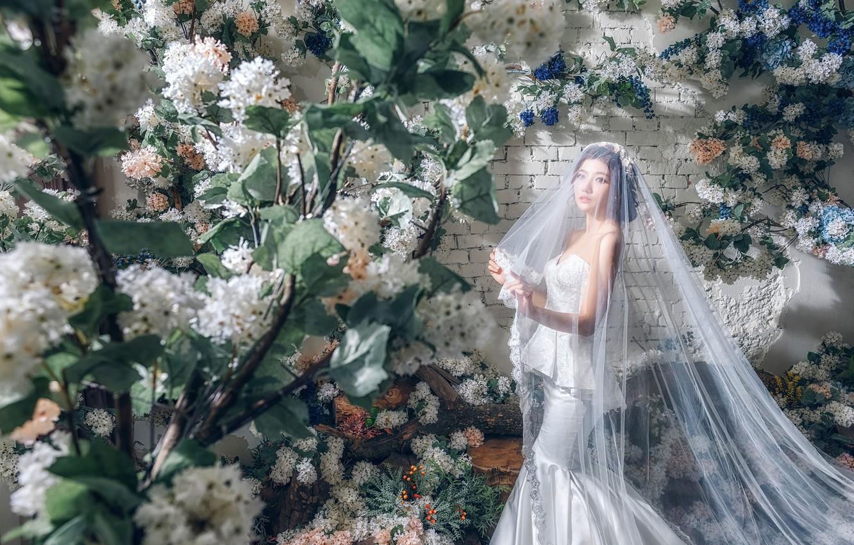 Фото обои цветы, стиль, модель, азиатка, невеста, фата, свадебное платье