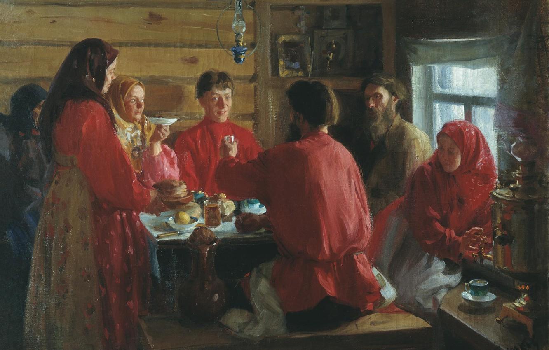 Фото обои масло, чаепитие, Холст, Иван КУЛИКОВ, В крестьянской избе