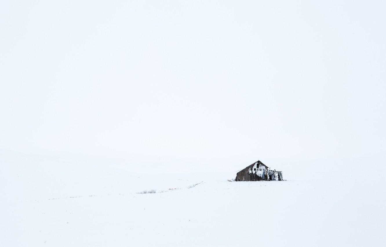 Фото обои зима, поле, снег, сараи