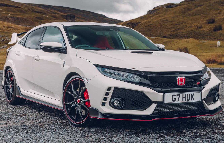 Фото обои Honda, White, Civic, Type, 2017