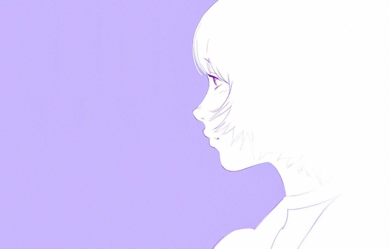 Обои Девочка, полоборота, серый фон, стрижка, челка, портрет, Илья Кувшинов. Разное foto 7