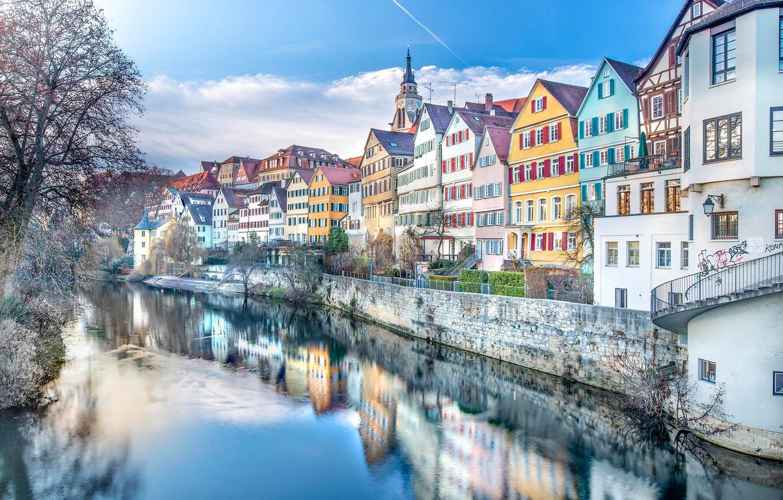 Фото обои отражение, река, здания, дома, Германия, набережная, Germany, Баден-Вюртемберг, Baden-Württemberg, Tübingen, Тюбинген, река Неккар, Neckar river
