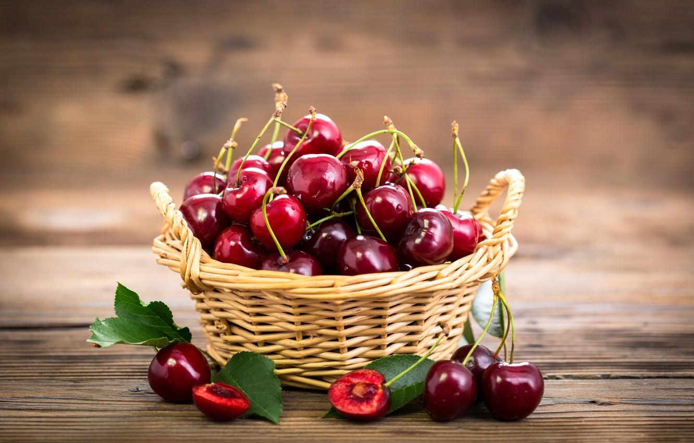 Фото обои ягоды, корзина, fresh, черешня, fruit, спелая, cherry