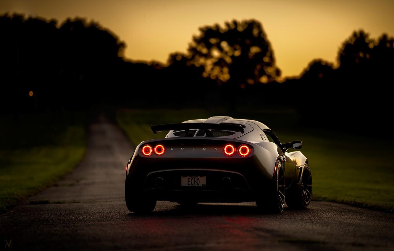 Фото обои дорога, ночь, Lotus, спорткар, Exige, Lotus Exige