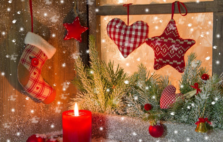 Фото обои фон, праздник, рождество, свеча, ель, Новый год, украшение