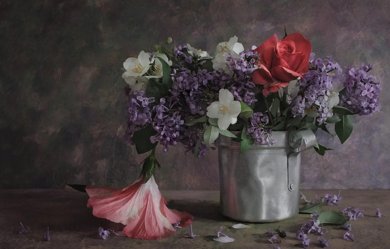 Фото обои цветы, роза, букет, сирень, жасмин, гибискус