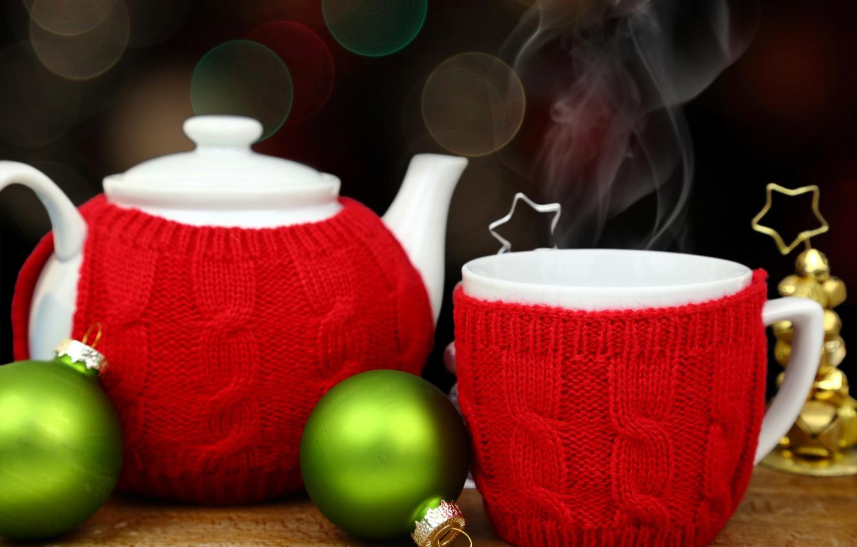 Фото обои украшения, шары, чай, Новый Год, чайник, Рождество, чашка, happy, Christmas, New Year, Merry Christmas, Xmas, …