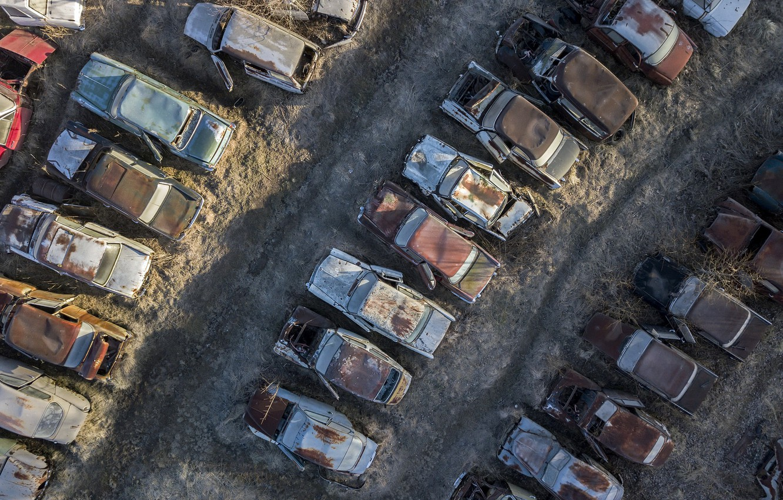 Фото обои машины, свалка, лом