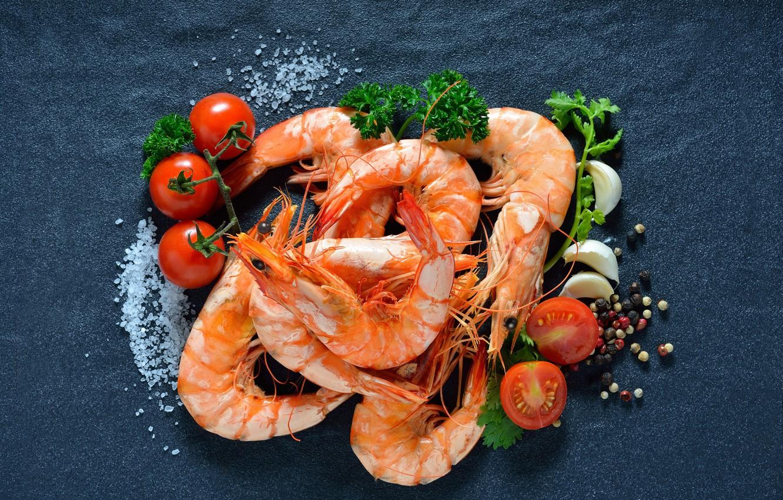 Фото обои зелень, перец, томат, креветки, морепродукты, соль
