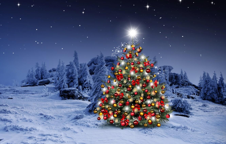 Фото обои зима, снег, украшения, снежинки, шары, елки, Новый Год, Рождество, happy, Christmas, night, winter, snow, Merry …