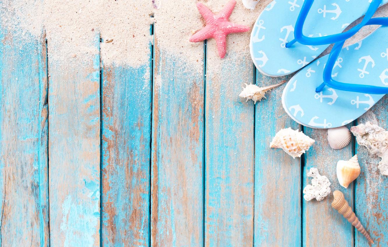 Фото обои песок, пляж, звезда, ракушки, summer, beach, wood, sand, marine, starfish, seashells