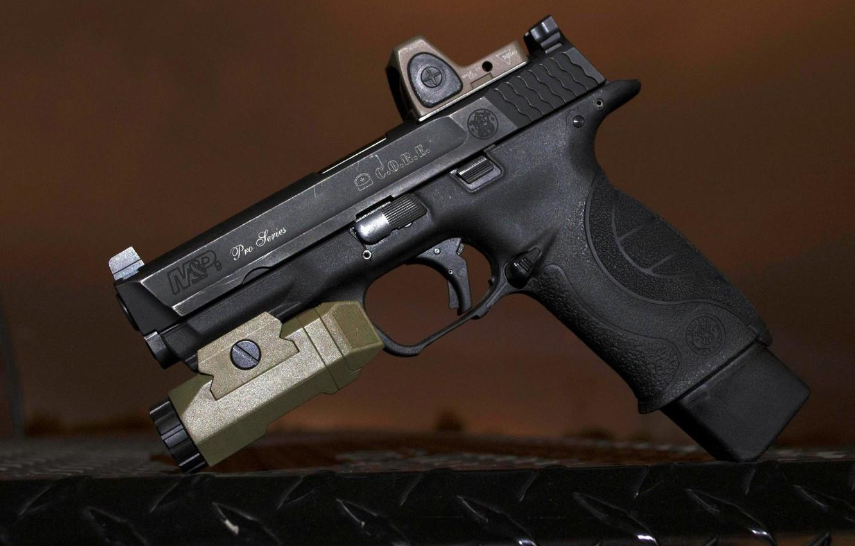 Фото обои пистолет, оружие, фонарик, gun, pistol, Смит Вессон, Смит и Вессон, smith & wesson, smith wesson, …