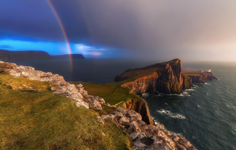 Фото обои Scotland, Lighthouse, Skye, Nest Point