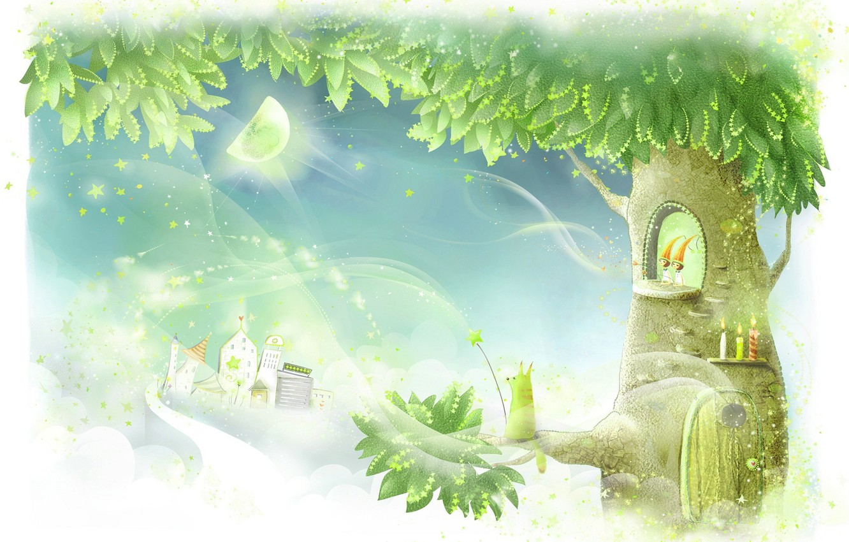 Фото обои дерево, волшебство, арт, домик, десткая