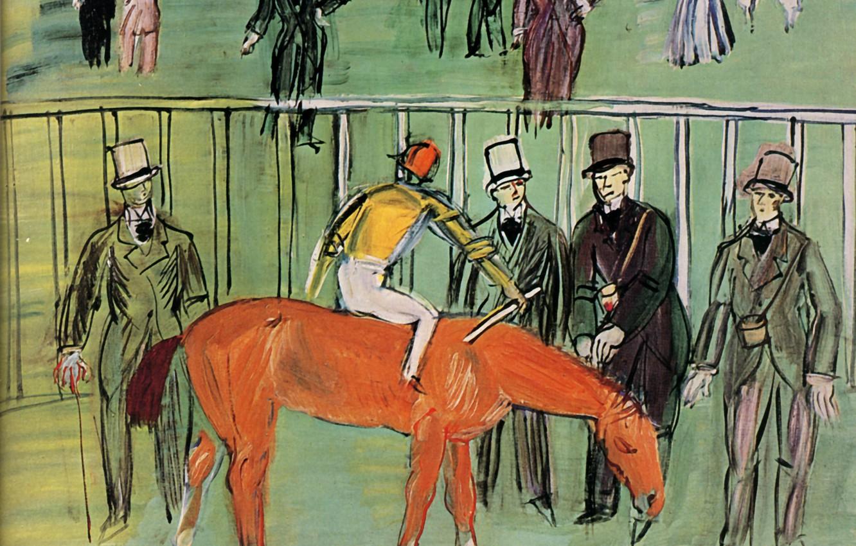 Фото обои New York, 1940, Huile sur Toile, Raoul Dufy, Le Pur-Sang, The Thorough-bred, Collection Monroe Gutman
