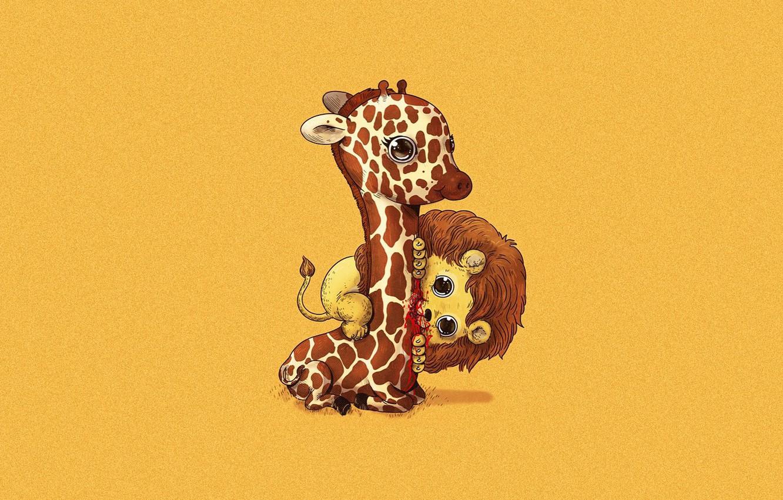 Фото обои безысходность, кровь, жертва, хищник, лев, жираф, боль, art, Alex Solis, пищевая цепочка
