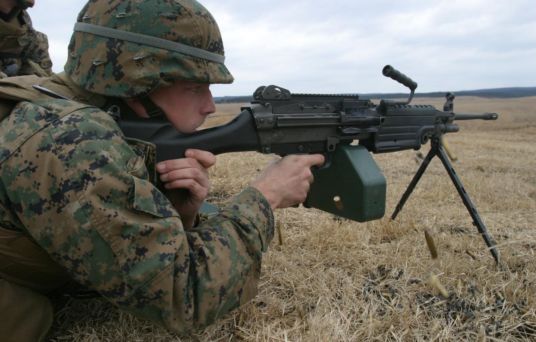 Фото обои M249, USMC, light machine gun