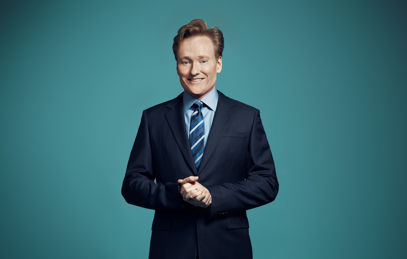 Фото обои blue, smile, funny, hands, handsome, Ginger, Conan o'brien