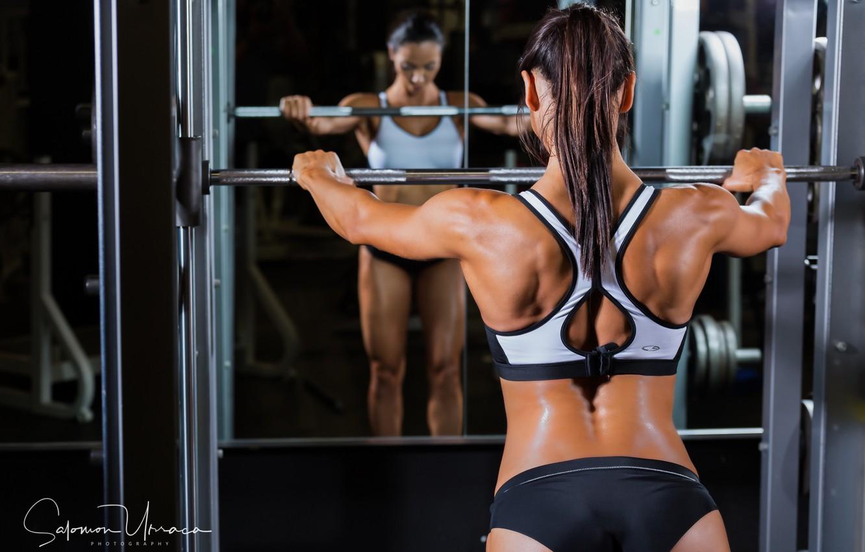 Фото обои brunette, female, mirror, fitness