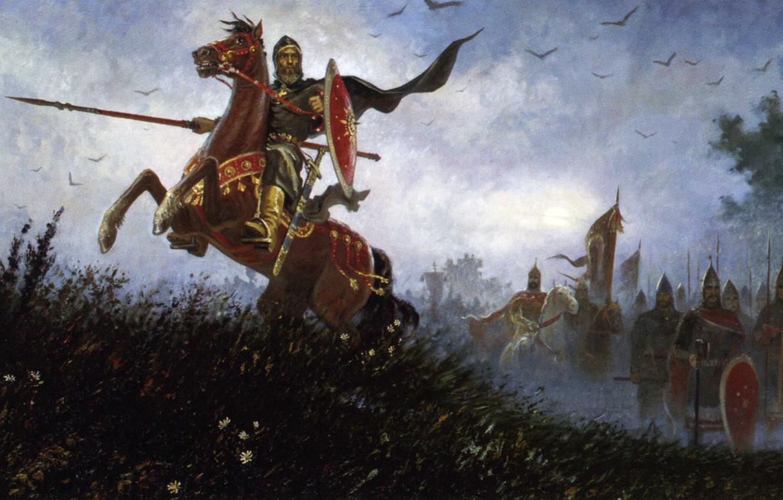 Фото обои конь, русь, славяне, Ольшанский Борис Михайлович, на поле Куликовом, Пересвет