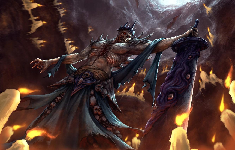 Фото обои оружие, меч, свечи, демон, арт, черепа, пещера, летучие мыши, фэнтазм