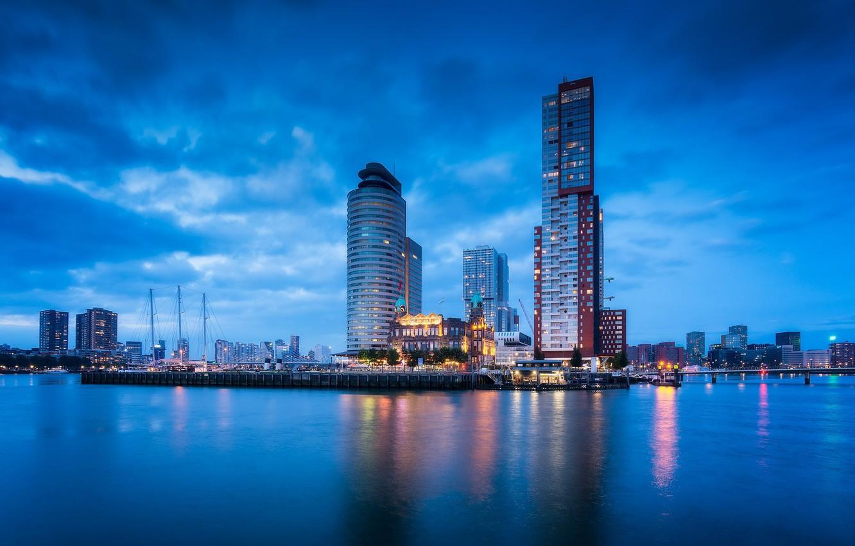 Фото обои огни, порт, Нидерланды, skyline, Голландия, Роттердам, Rotterdam